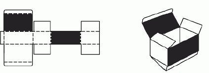 Картонная коробка «Пенал» с креплением крышки к одной стороне